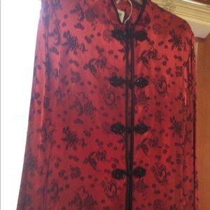 Holiday 2-Piece Poly Satin Asian Jacket Pant Set L